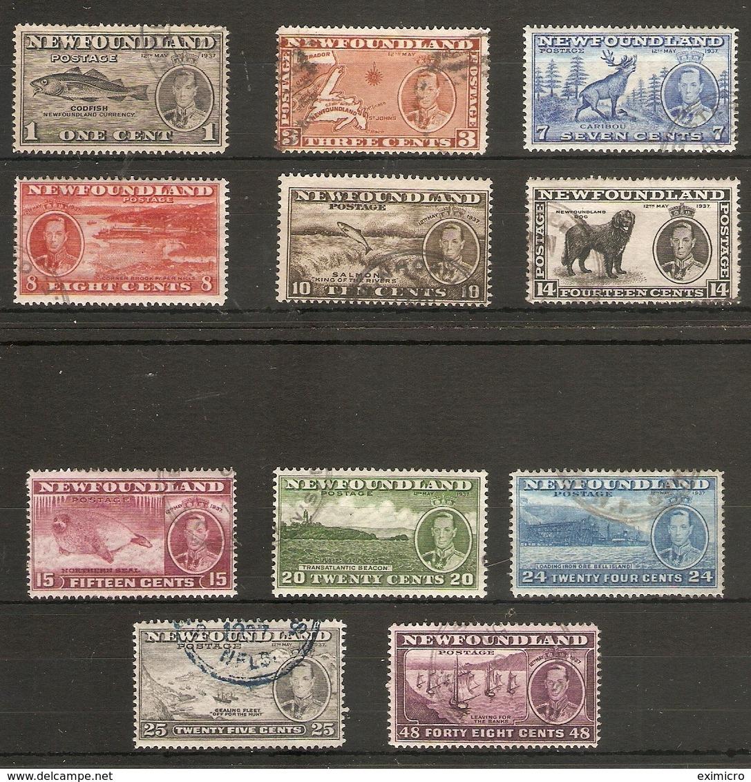 NEWFOUNDLAND 1937 CORONATION LONG SET SG 257/267 FINE USED Cat £50 - 1908-1947
