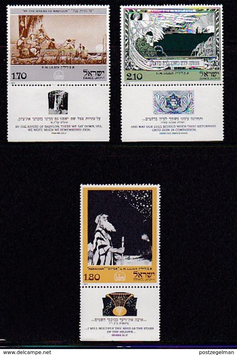 ISRAEL, 1977, Unused Hinged Stamp(s), With Tab, Art. E.M. Lilien, SG656-658, Scannr. 17476 - Israel