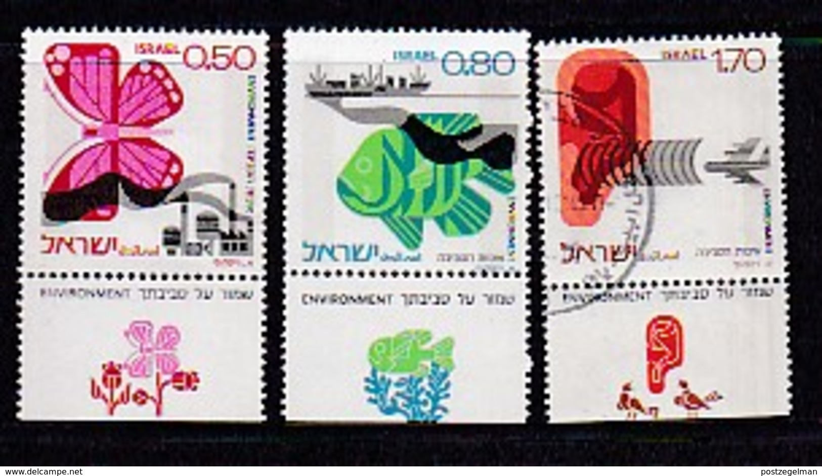 ISRAEL, 1975, Unused Hinged Stamp(s), With Tab, Environment Quality, SG617-619, Scannr. 17460 - Israel