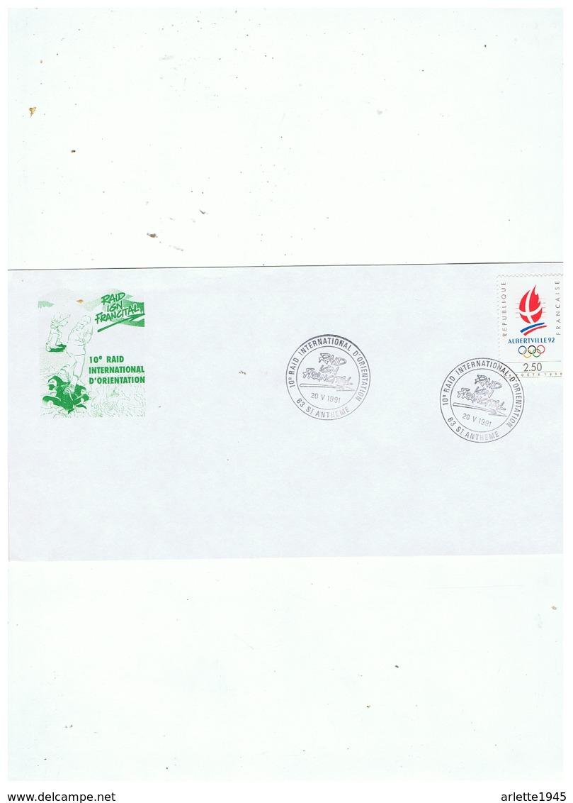 LETTRE 10e RAID INTERNATIONAL D'ORIENTATION 20 05 1991 ST ANTHEME 63 - Marcophilie (Lettres)