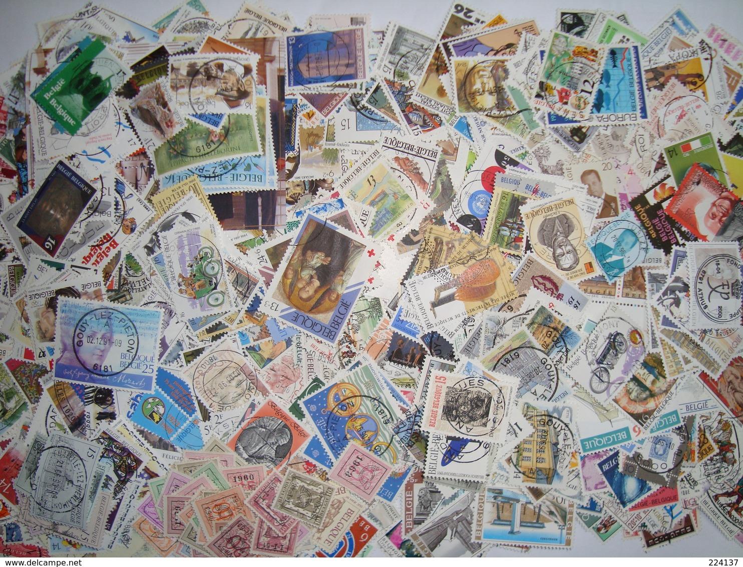 BELGIQUE ENVIRON 1550 TIMBRES OBLITERES DIFFERENTS - Stamps
