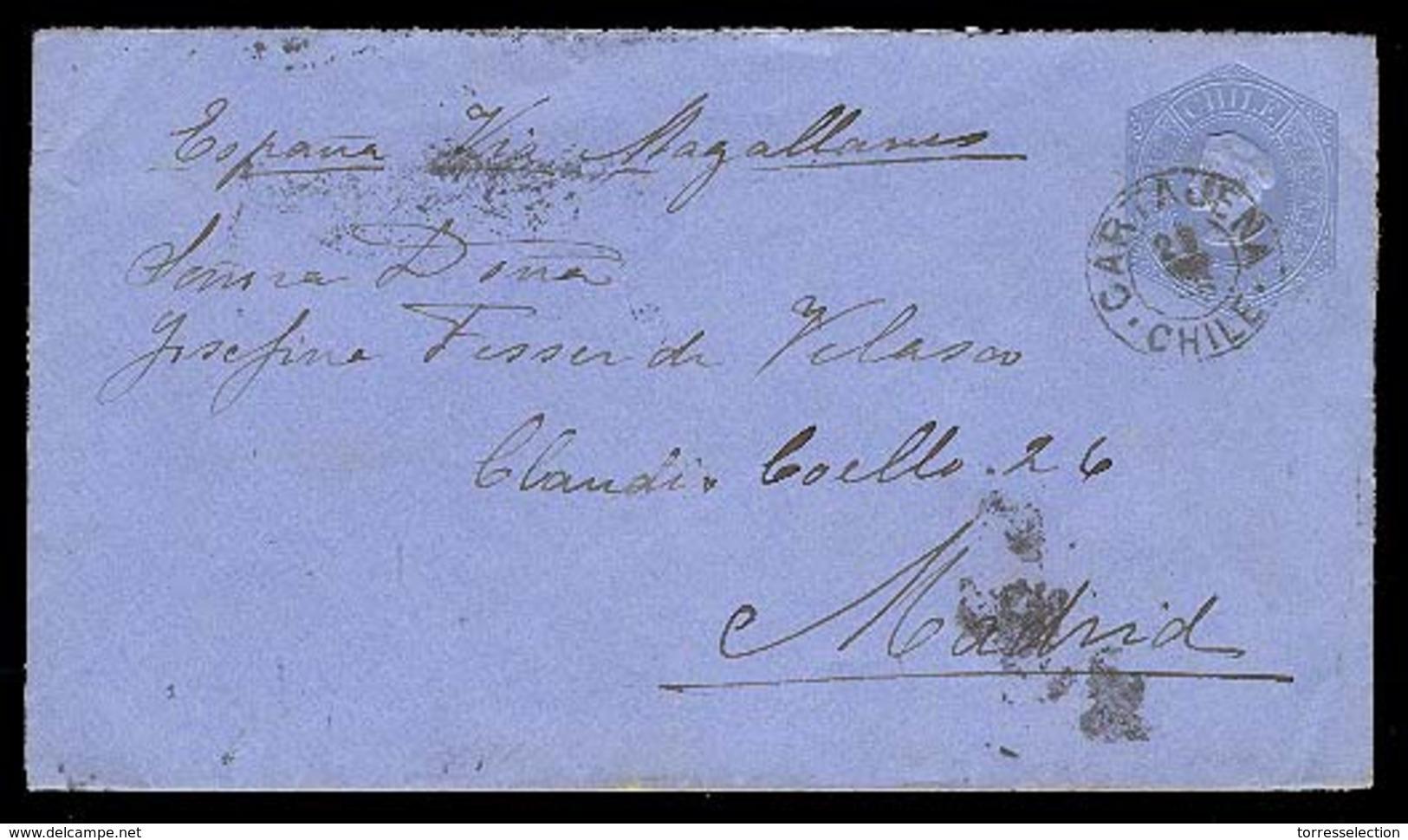 CHILE. 1896. Cartajena / Madrid - España. Entero Postal. Raro Destino En Este Periodo. - Chile