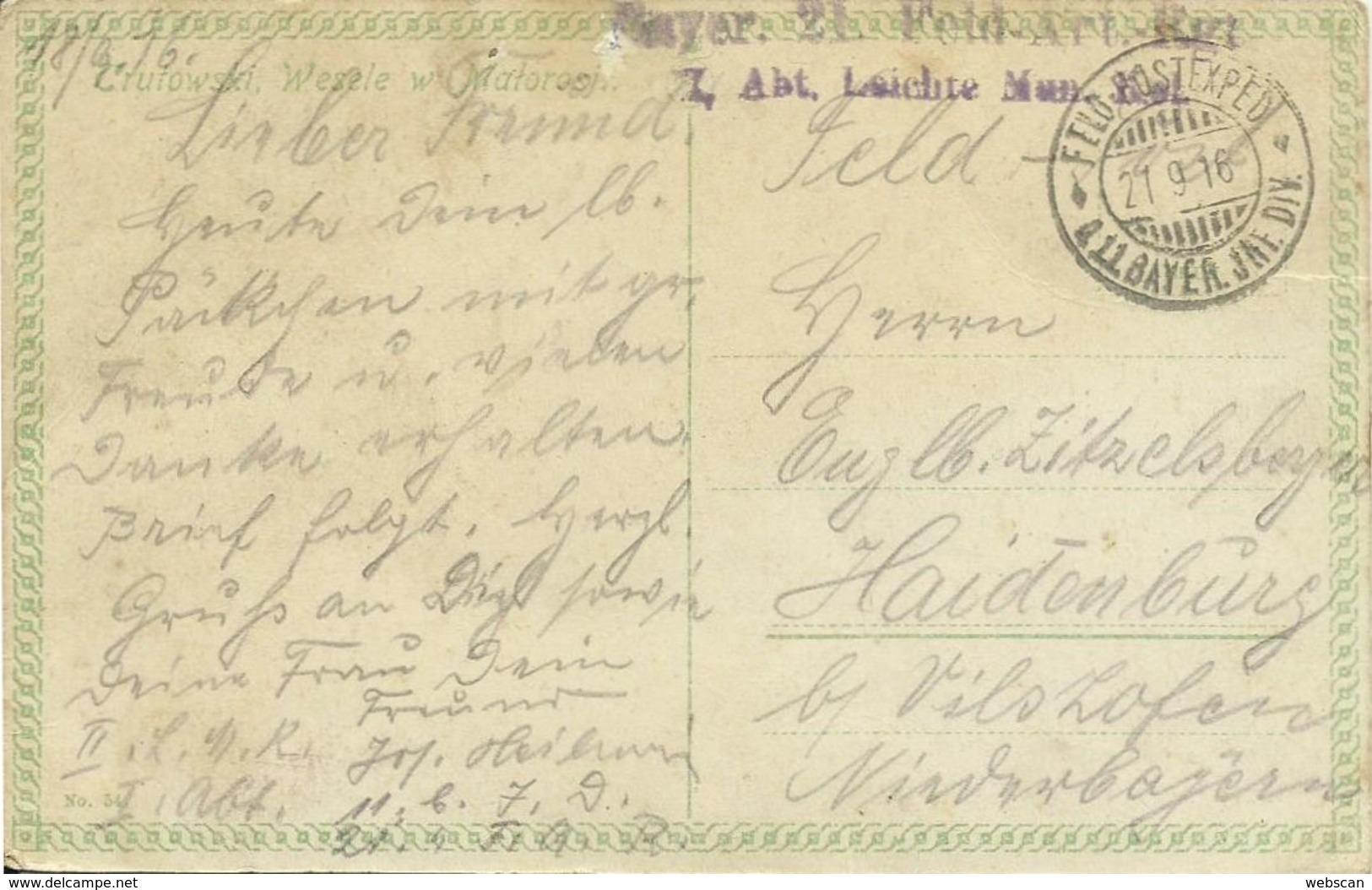 AK Polen Trutowski Wesele W Matorosji 1916 Feldpost - Europe