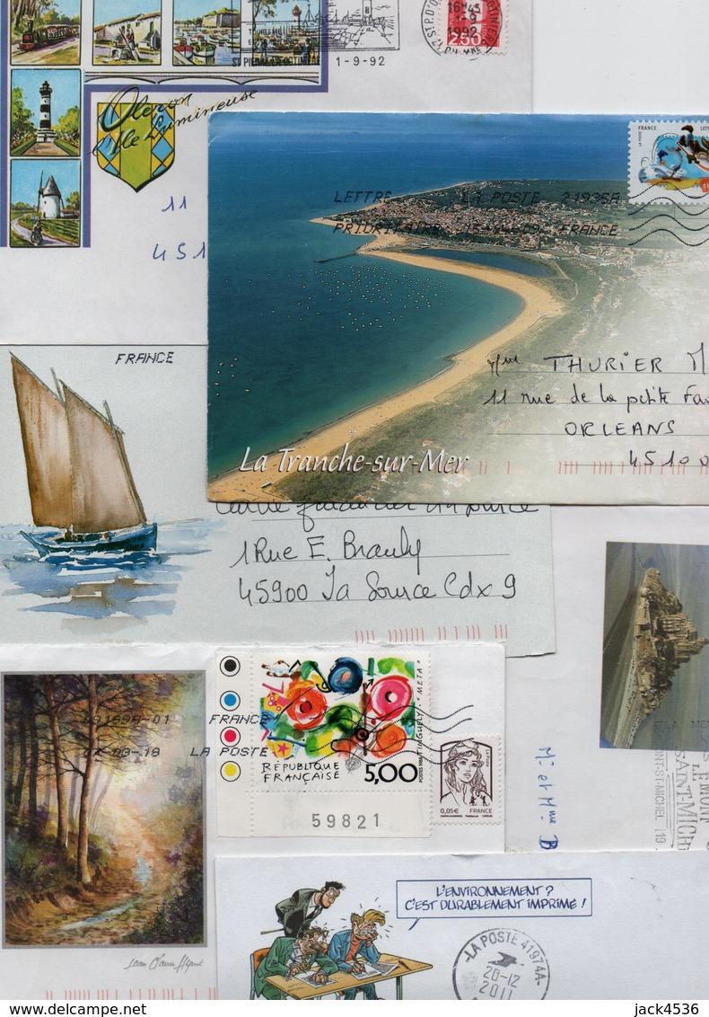 Lot De 40 Lettres - Touristiques, Dessins, Divers - 6 Scan. - Postmark Collection (Covers)