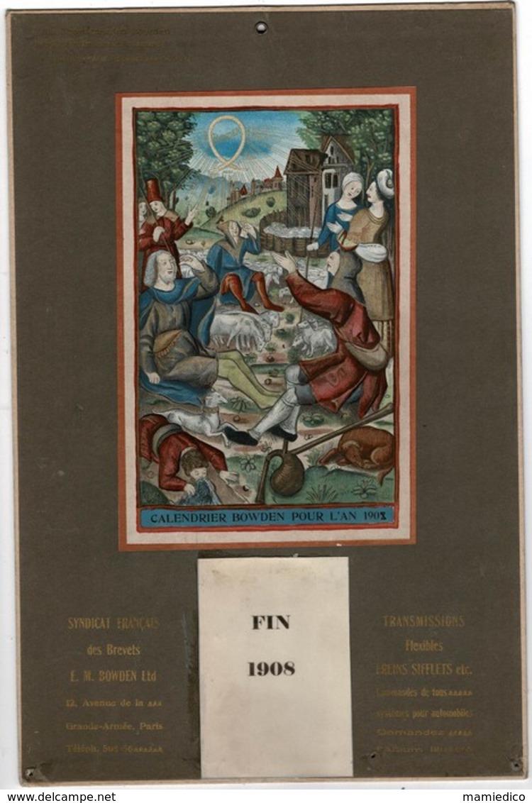 """Calendrier BOWDEN POUR L'AN 1908,utilisé. Edité Par La """"Transmission BOWDEN"""" Syndicat Français Des Brevets - Calendriers"""