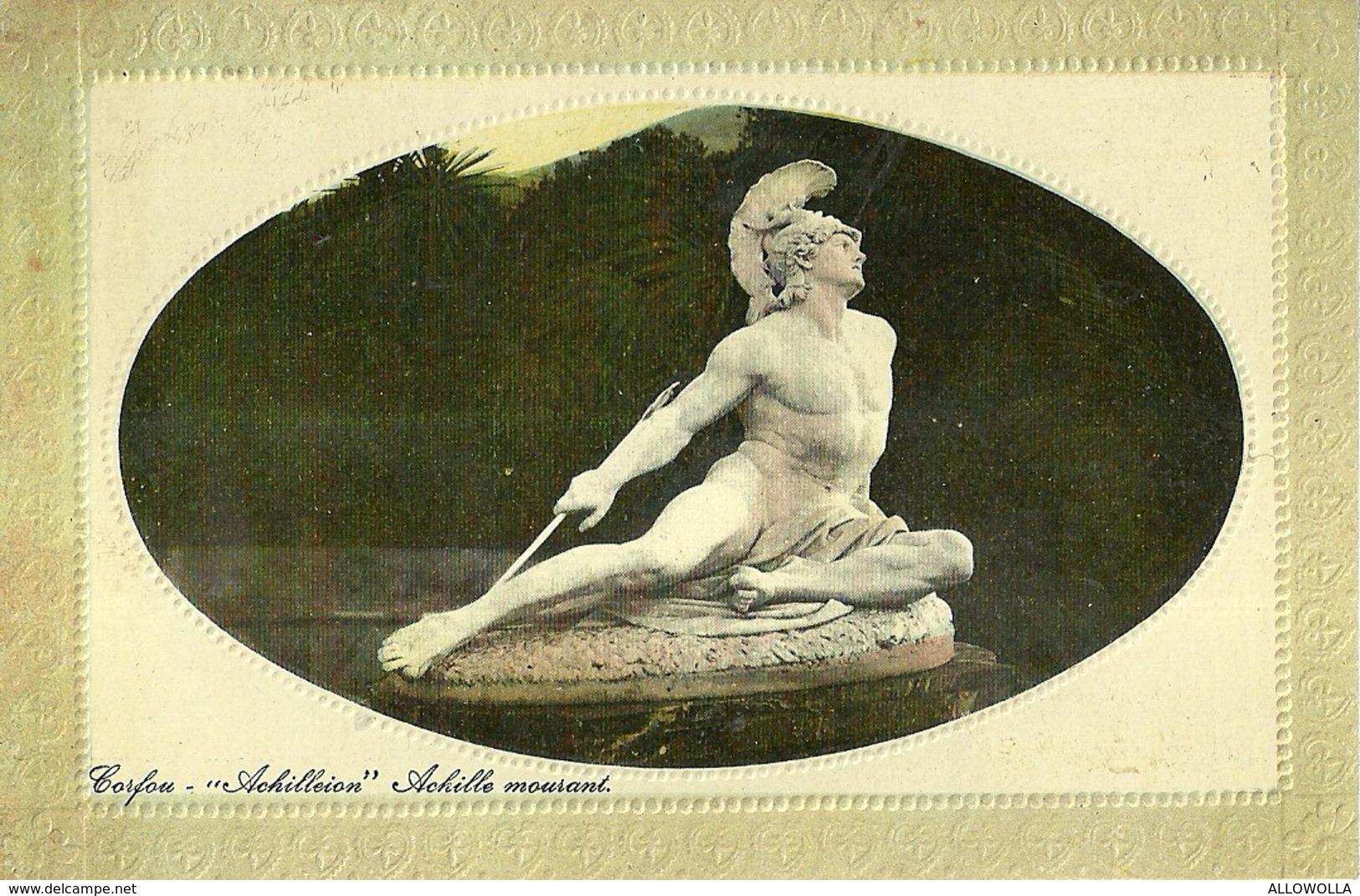 """2696 """" CORFOU - ACHILLEION - ACHILLE MOURANT """" CARTOLINA POSTALE ORIG. NON SPEDITA - Grecia"""