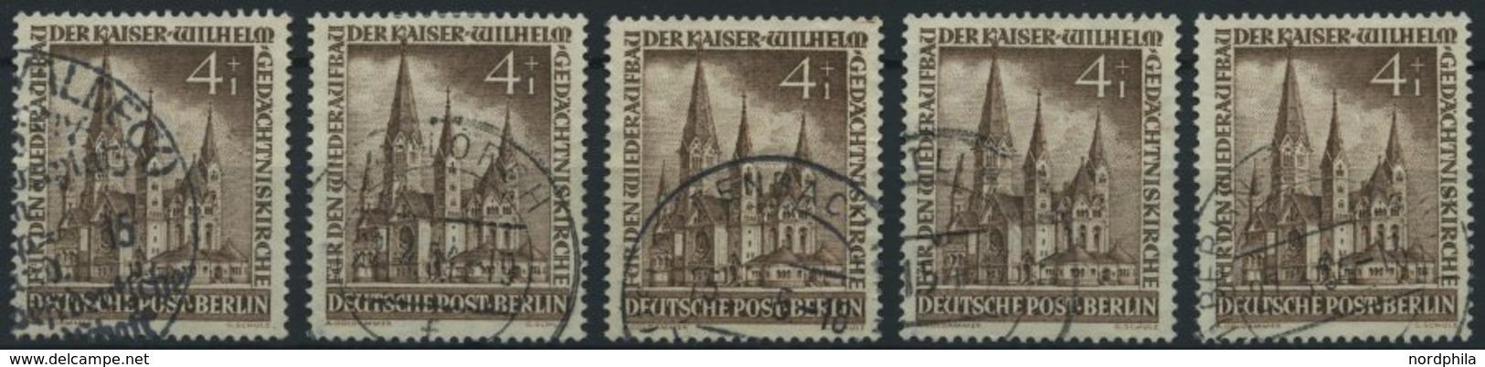 ENGROS 106 O, 1953, 4 Pf. Gedächtniskirche, 5 Prachtwerte, Gepr. D. Schlegel, Mi. 100.- - Deutschland