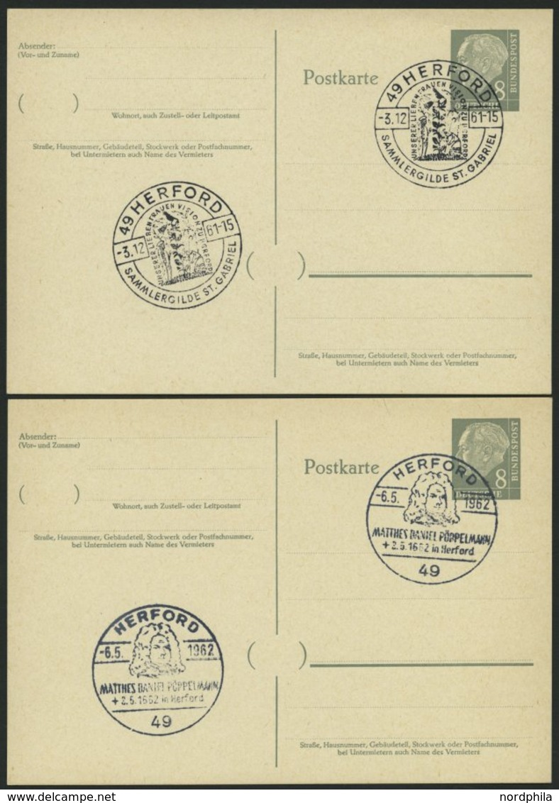 GANZSACHEN P 36 BRIEF, 1961, 8 Pf. Heuß Mit Postfachnummer Statt Postschließfachnummer, 2 Leer Gestempelte Karten Mit Ve - Deutschland