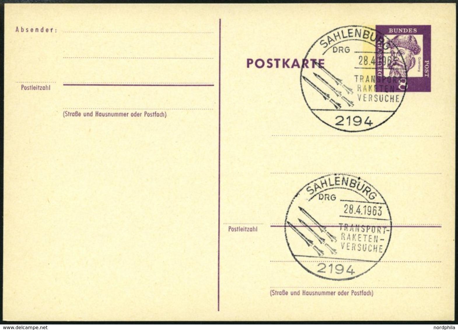 GANZSACHEN P 73 BRIEF, 1962, 8 Pf. Gutenberg, Postkarte In Grotesk-Schrift, Leer Gestempelt Mit Sonderstempel SAHLENBURG - Deutschland