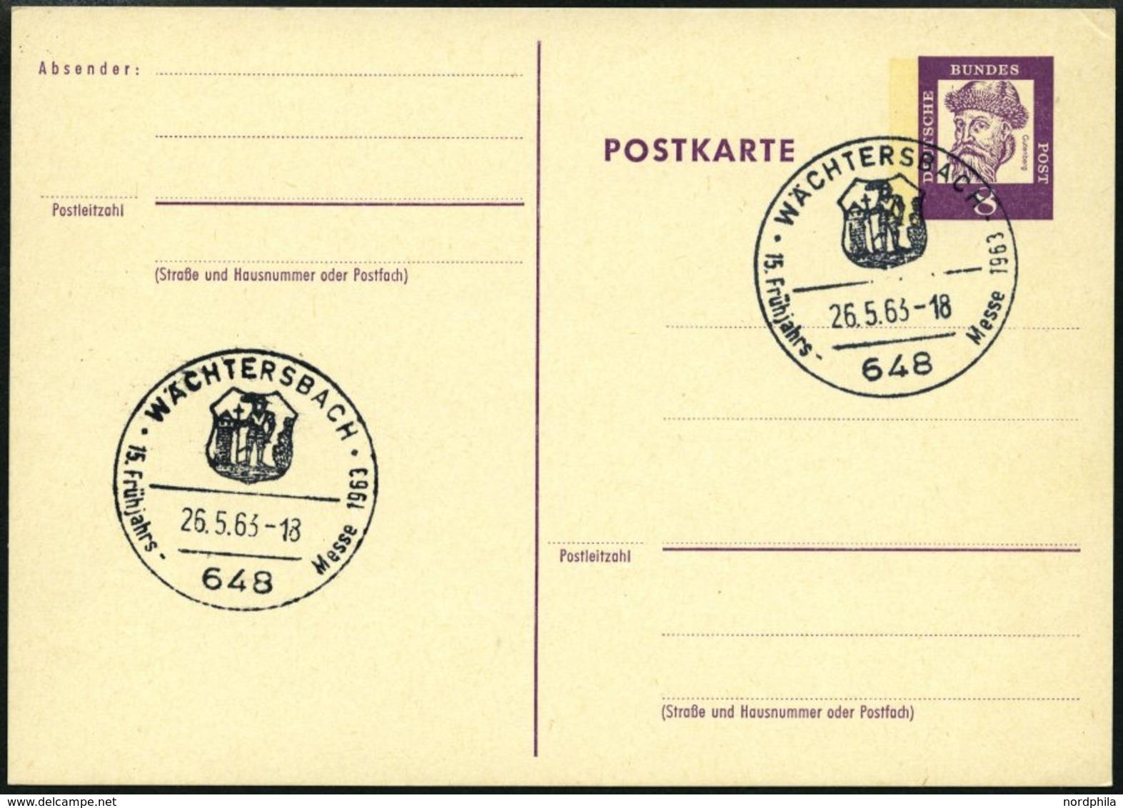 GANZSACHEN P 73 BRIEF, 1962, 8 Pf. Gutenberg, Postkarte In Grotesk-Schrift, Leer Gestempelt Mit Sonderstempel WÄCHTERSBA - Deutschland