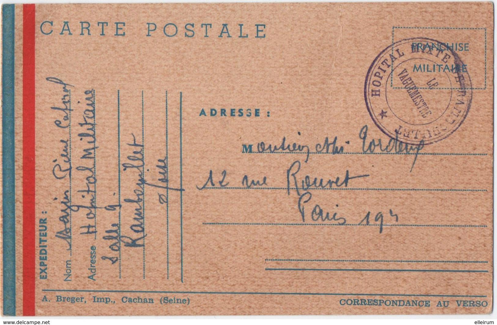 MILITARIA. 39-45. CACHET HOPITAL MIXTE De RAMBOUILLET. FRANCHISE MILITAIRE.1940. - Guerra 1914-18