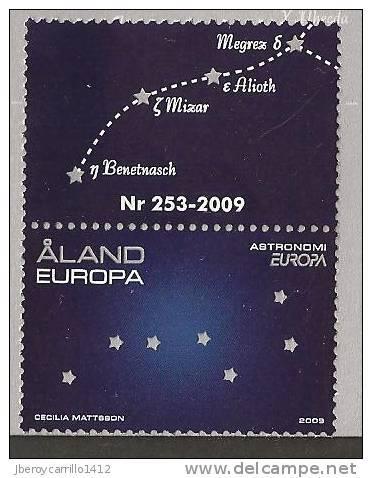 """ALAND - EUROPA 2009 - TEMA """"ASTRONOMIA"""" - SERIE De 1 V. Con VIÑETA O LABEL DENTADA  (PERFORATED) - Europa-CEPT"""