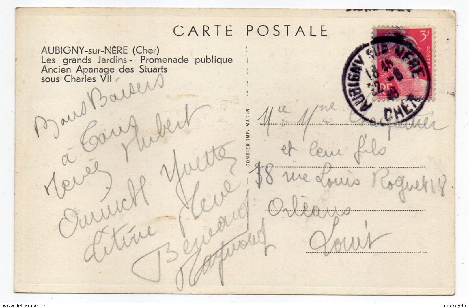 AUBIGNY SUR NERE-- 1949 --Les Grands Jardins-Promenade Publique-Ancien Apanage Des Stuart Sous Charles VII - Aubigny Sur Nere