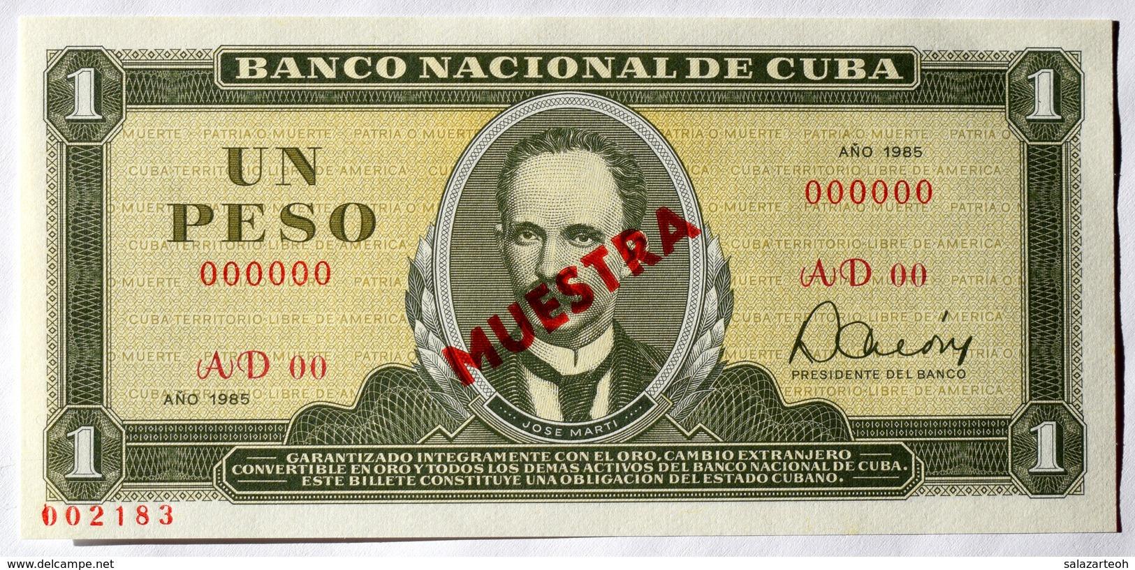 Cuba Billete MUESTRA (SPECIMEN) 1985, Un Peso, Gem-UNC. Impecable Condicion - Cuba