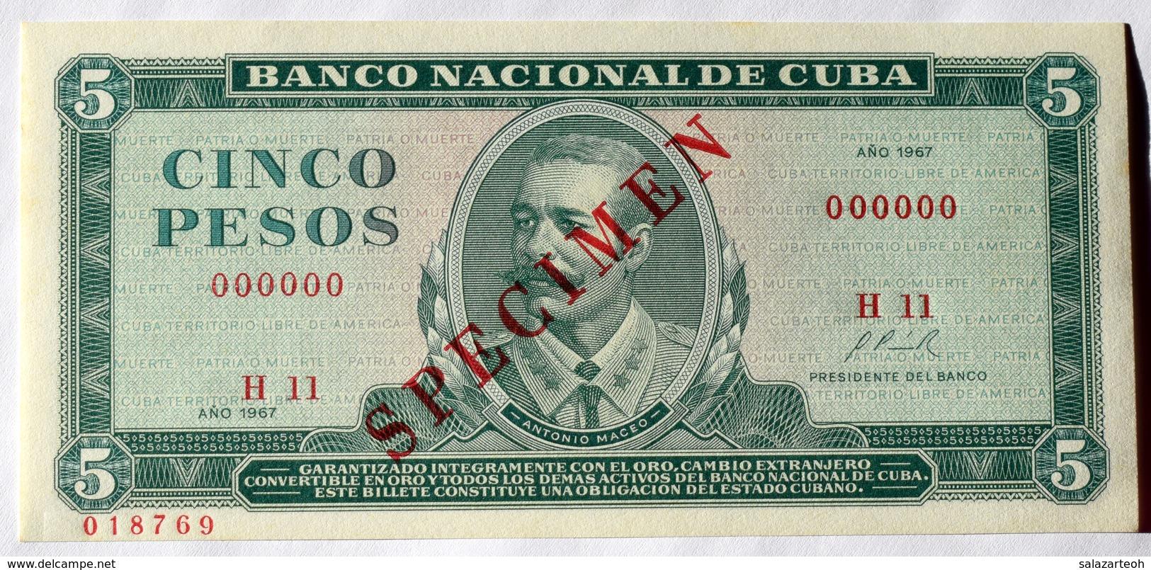 SPECIMEN 1967, Cuba, Billete De CINCO PESOS, Gem-UNC. Primera Decada De La Revolución. - Cuba