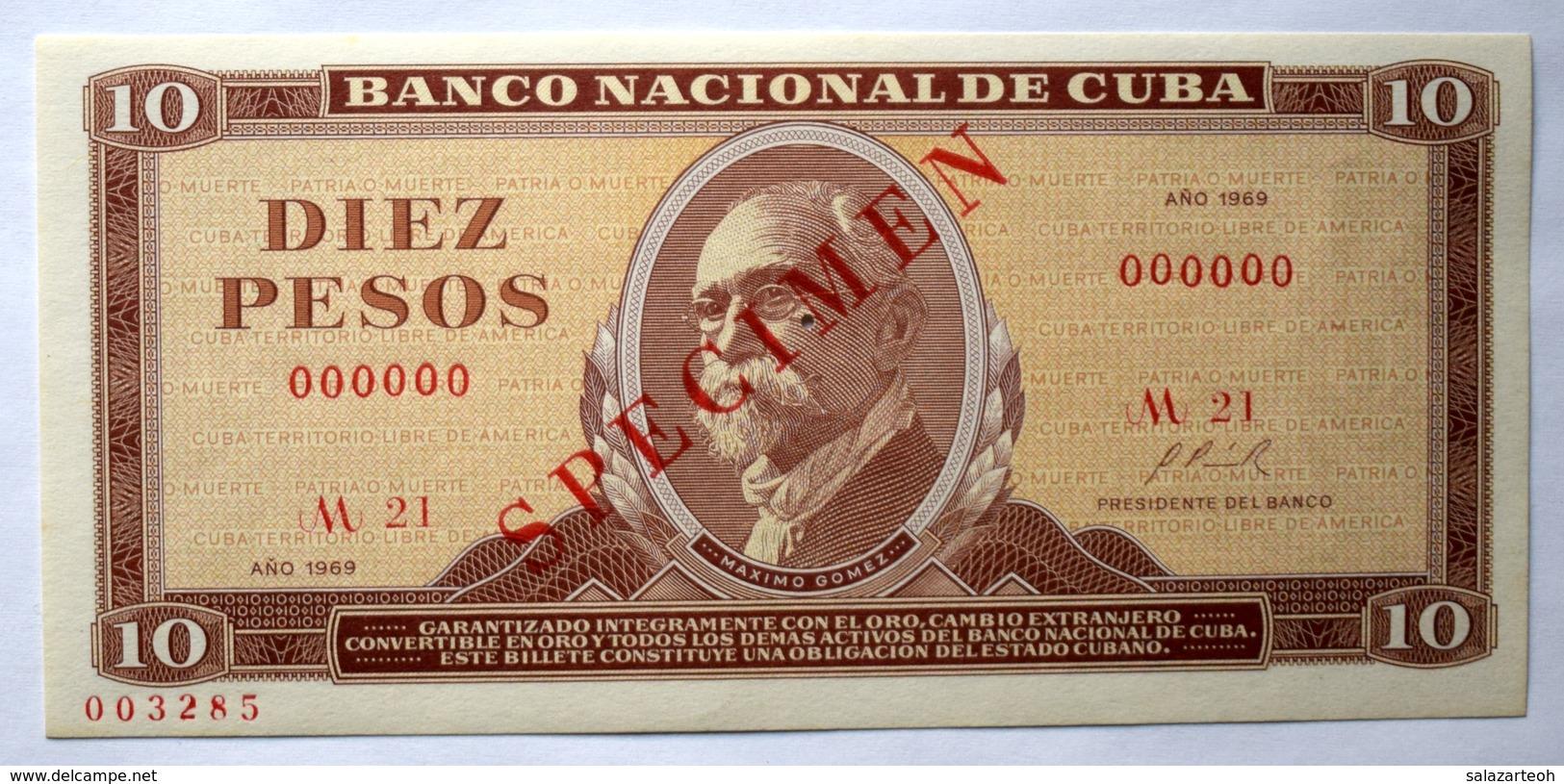 Cuba DIEZ PESOS 1969, SPECIMEN, Billete Gem-UNC. Primera Década De La Revolución Cubana. - Cuba