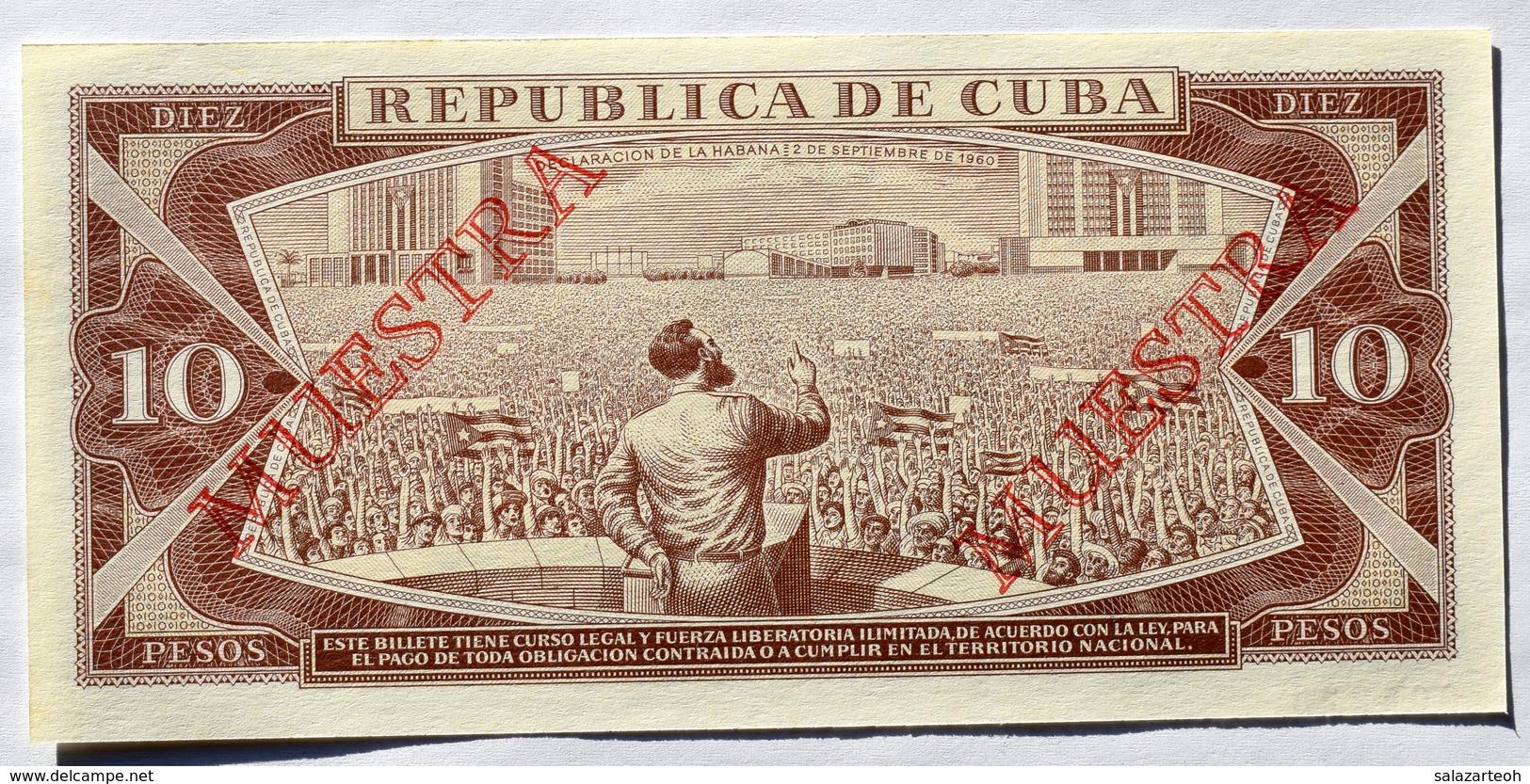 Billete MUESTRA De CUBA 1987, (SPECIMEN), De DIEZ PESOS, Crispy Gem-UNC. últimos Años De Este Diseño. - Cuba