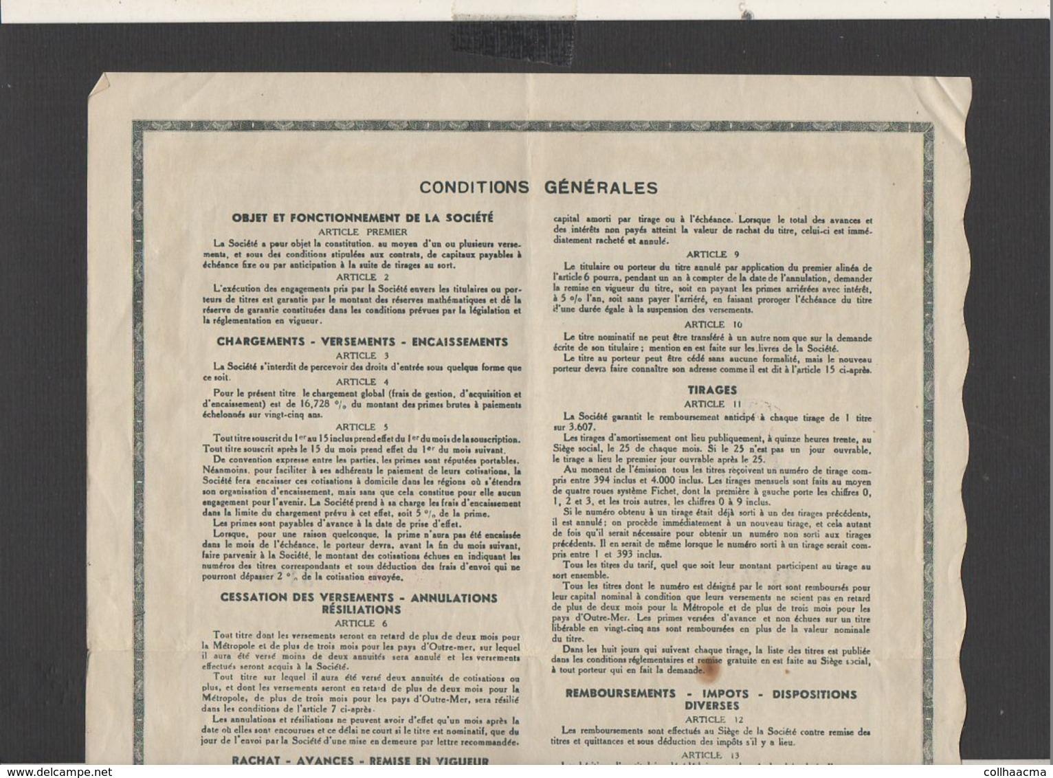 """Action : Société  De Capitalisation """" Caisse Familiale"""" Siège Social à Paris  Titre De 10.000 Francs 1938 + Courrier - Banque & Assurance"""