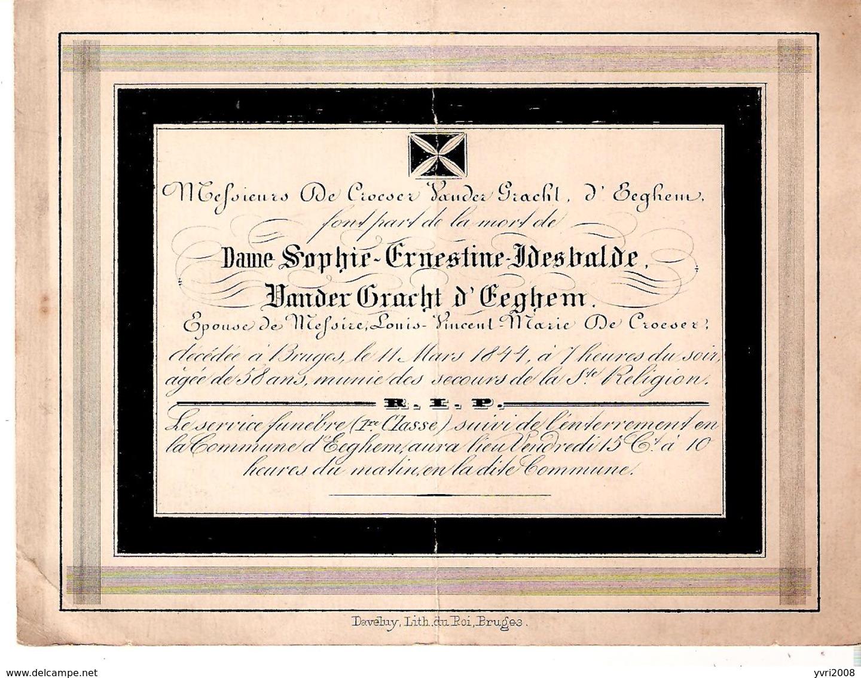 Faire-part De Décès De Dame Sophie VANDER GRACHT D'EEGHEM épouse De Messire De Croeser En 1844 - Obituary Notices