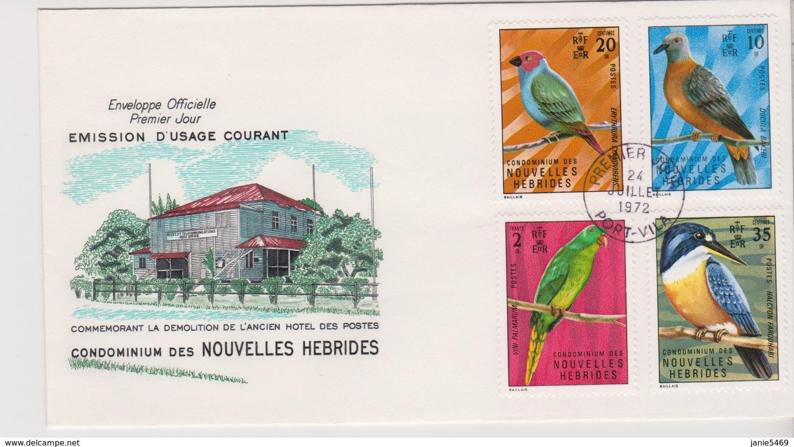 New Hebrides 1972 Definitives Birds FDC - FDC