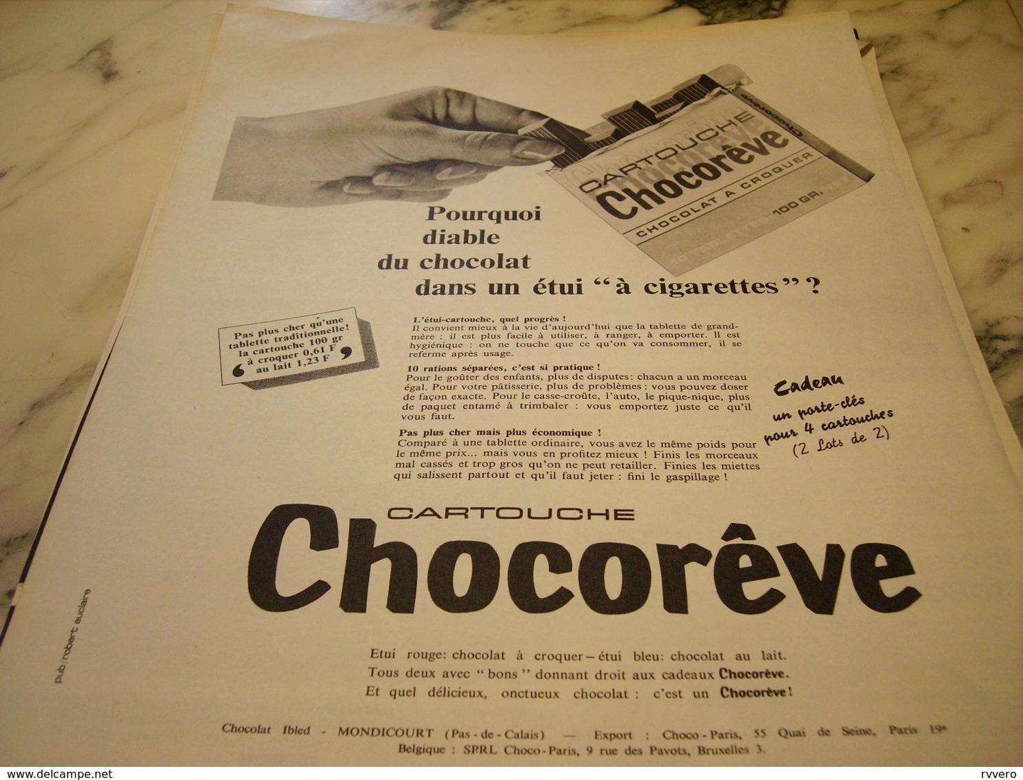 ANCIENNE PUBLICITE CARTOUCHE CHOCOREVE 1966 - Affiches