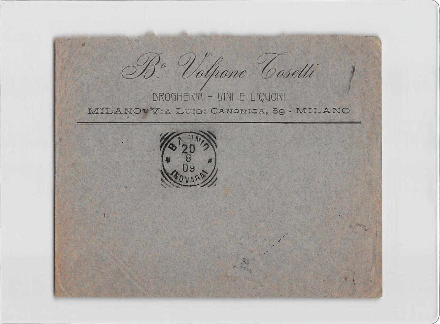 11914 03  VOLPONE TOSETTI DROGHERIA VINI LIQUORI MILANO X BANNIO - 1900-44 Victor Emmanuel III
