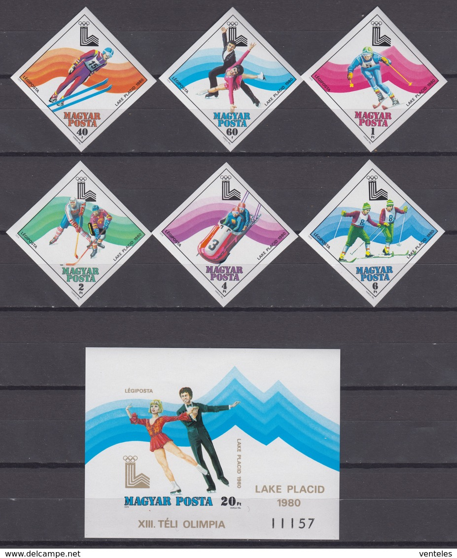 Hungary 15.12.1979 IMPERF Mi # 3390-95В Bl 140 B 1980 Lake Placid Winter Olympics MNH OG - Invierno 1980: Lake Placid