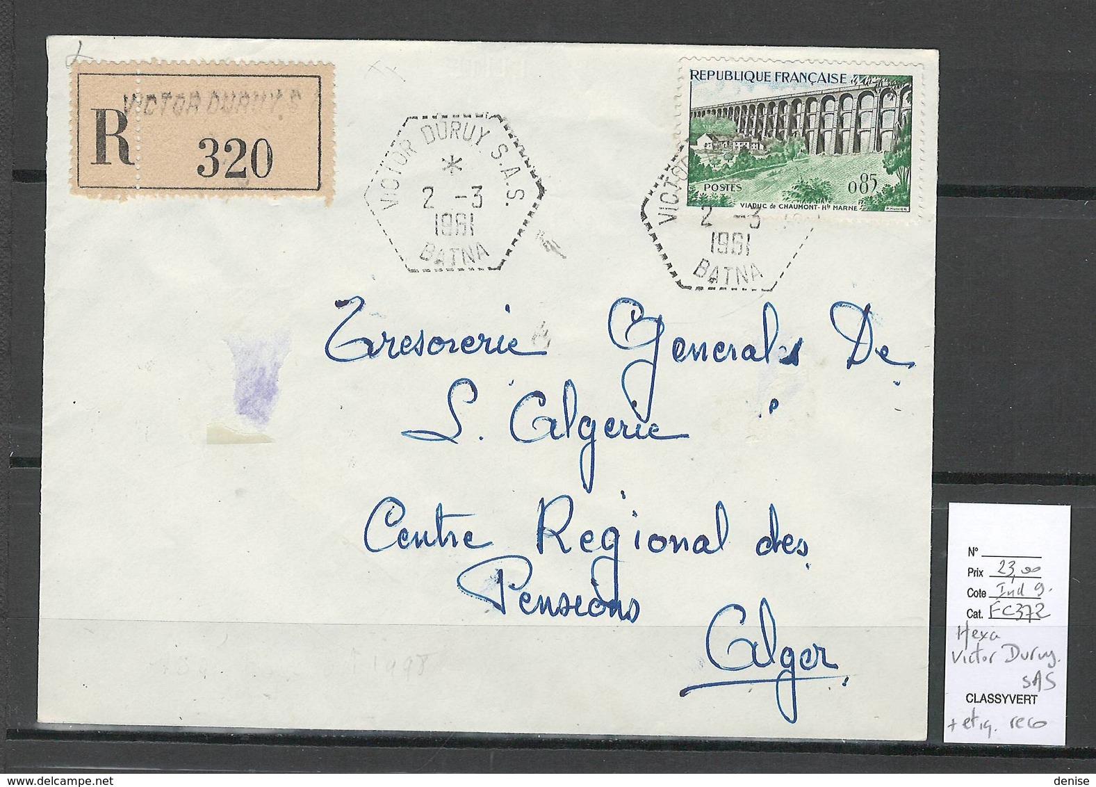 Algerie - Lettre Recommandée - Cachet Hexagonal VICTOR DURUY  SAS - Marcophilie - Covers & Documents