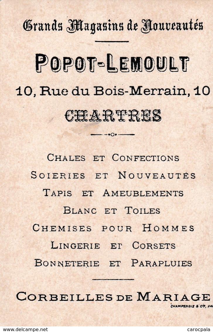"""Vers 1895 PARTIE DE BADMINGTON """"le Volant"""" (fillettes,raquettes) (publicité Popot-Lemoult à Chartres) - Cartes Postales"""