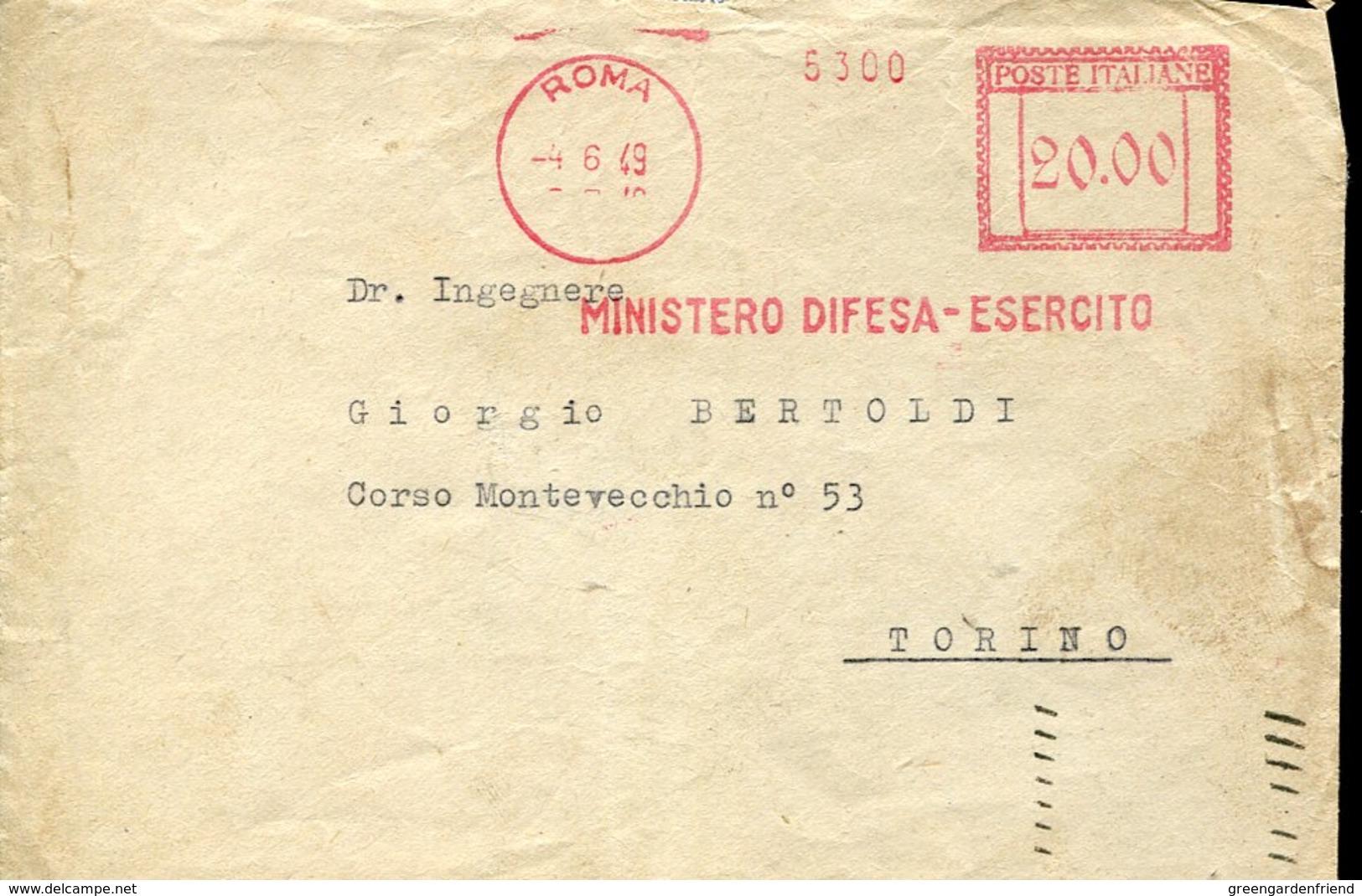 42765 Italia, Red Meter Freistempel Ema, 1949 Roma Ministero Difesa Esercito - Affrancature Meccaniche Rosse (EMA)