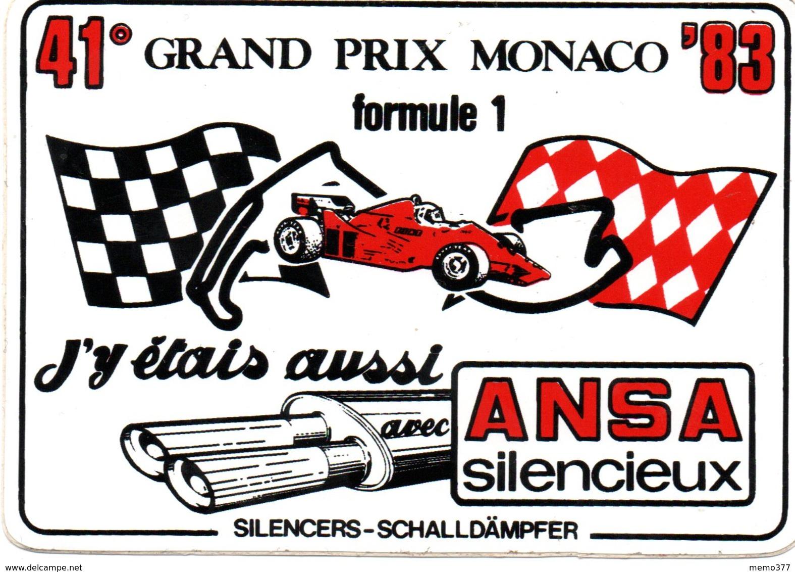 """MONACO -- AUTOCOLLANT STICKER Plastique -- 41 ° Grand Prix MONACO 83 -- Formule 1 """" ANSA Silencieux """" - Voitures (Courses)"""