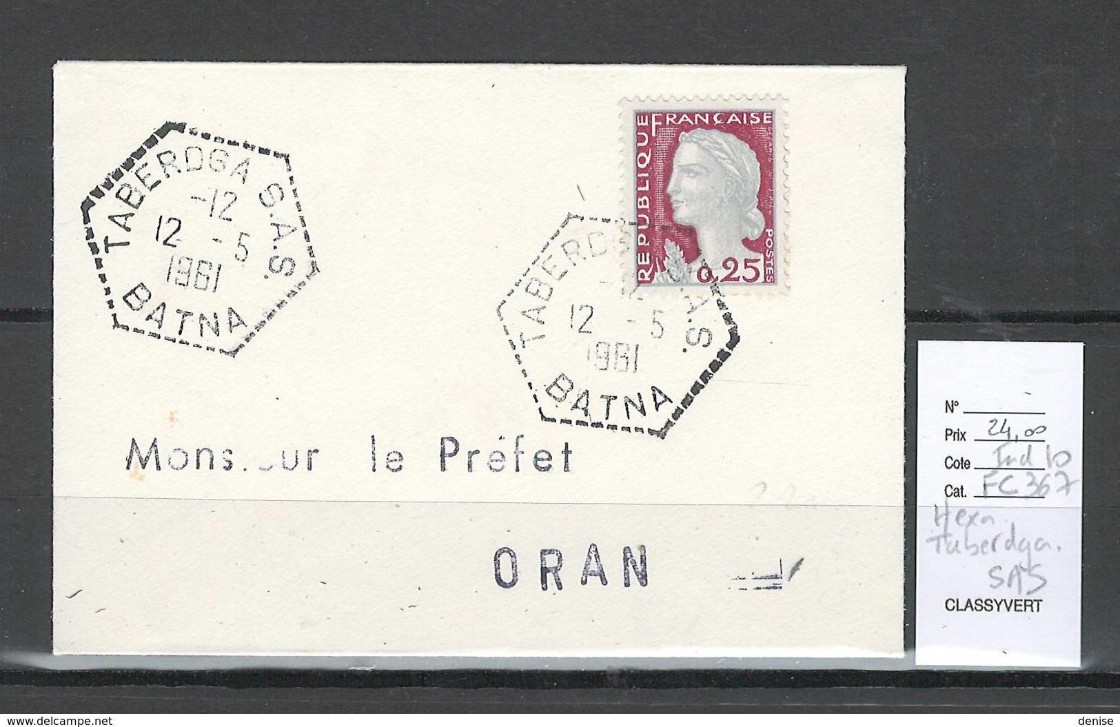 Algerie - Lettre - Cachet Hexagonal TABERDGA  SAS - Marcophilie - Algeria (1924-1962)