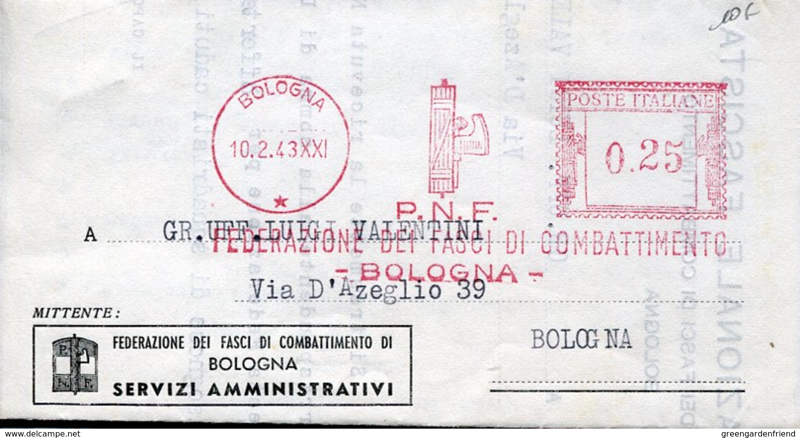 42786  Italia, Red Meter Freistempel Ema,1943 Bologna PNF Federazione Fasci Combattimento Bologna - Machine Stamps (ATM)