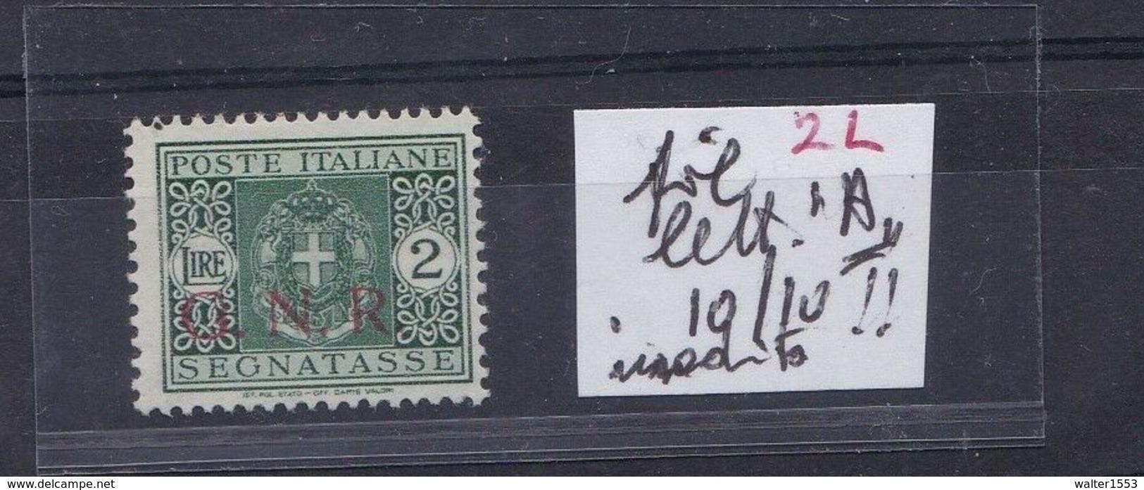 ITALIA 1944 RSI GNR 2 Lire Segnatasse Fifigrana Lettera A Firmato Caffaz RARO !!!! - Strafport