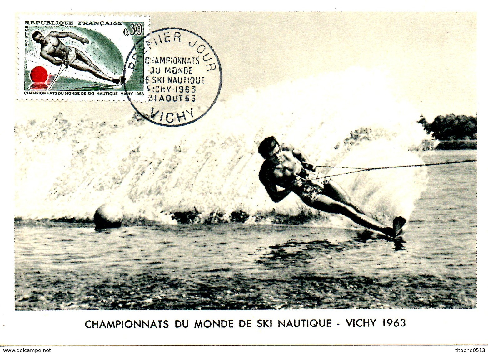 FRANCE. N°1395 Sur Carte Maximum De 1963. Ski Nautique. - Water-skiing