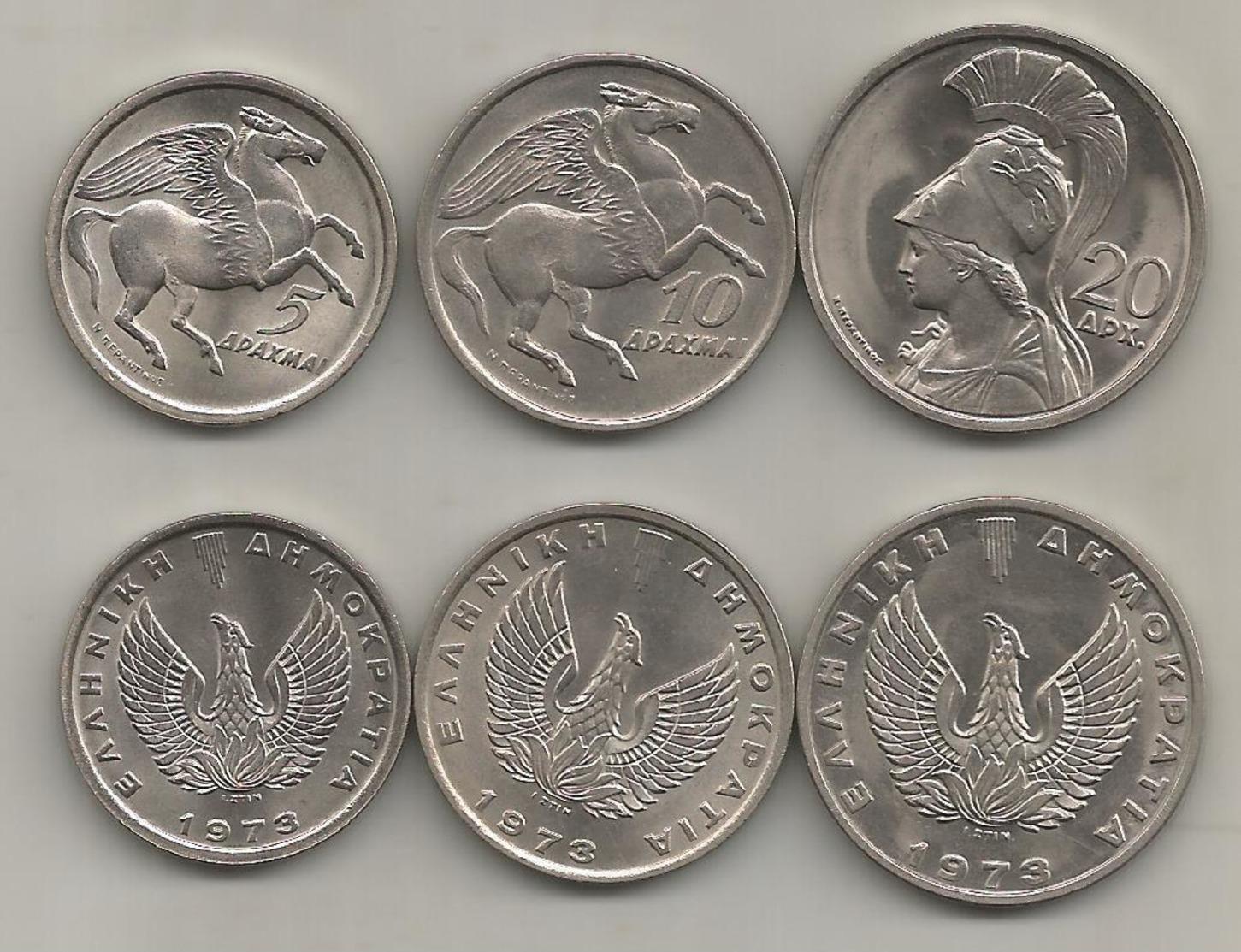"Greece 1973 5,10,20 Drachmas ""Pegasus & Goddess Athena"" UNC!!! - Grèce"