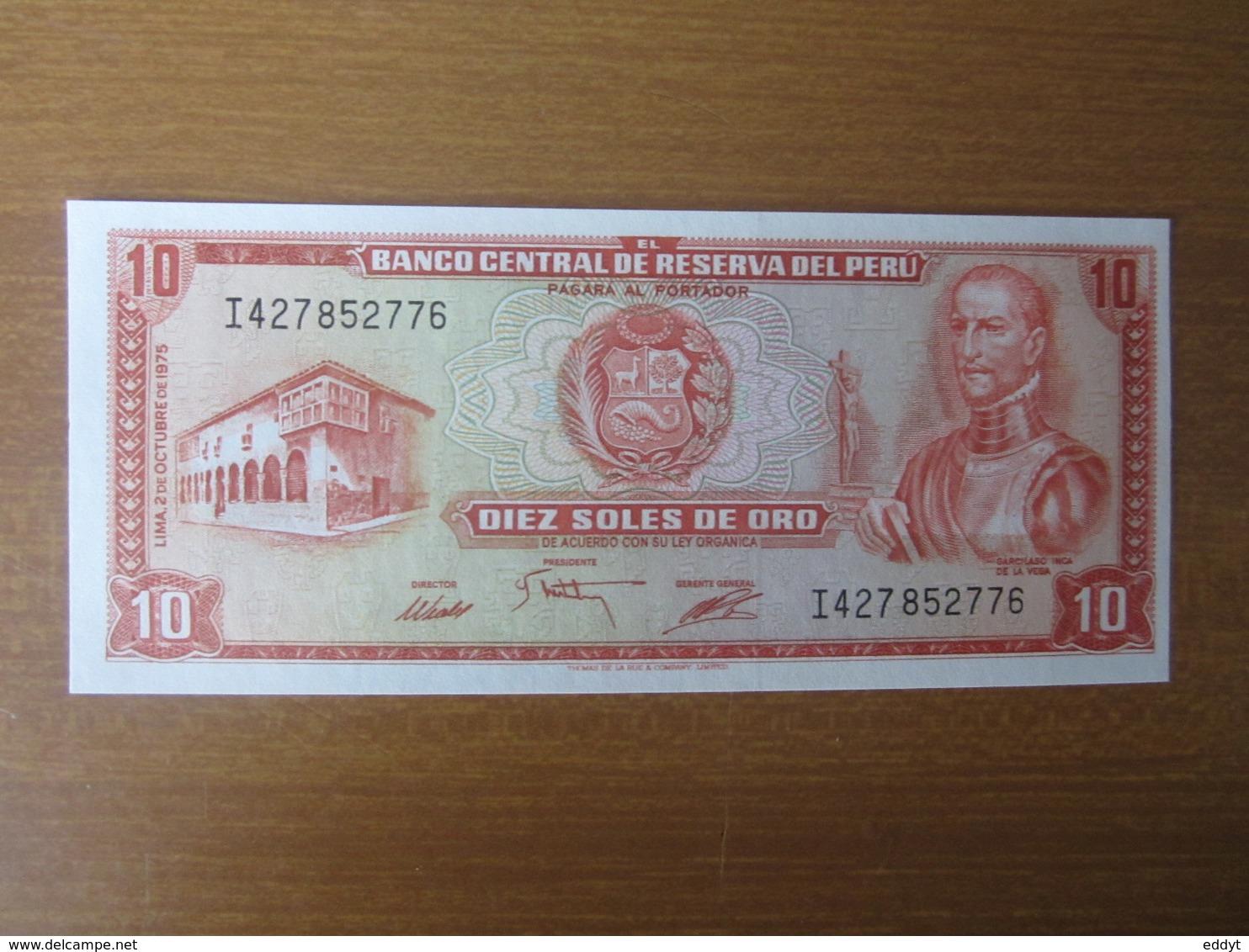 Billet, PEROU, - 10 Oro 1975 -  Ft: 15 X 7,5 Cm - NEUF - Pérou