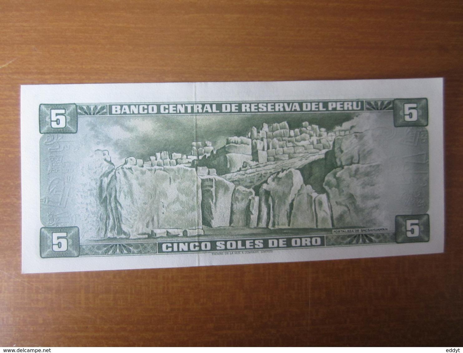 Billet, PEROU, - 5 Oro 1972 -  Ft: 15 X 7,5 Cm - NEUF - Pérou