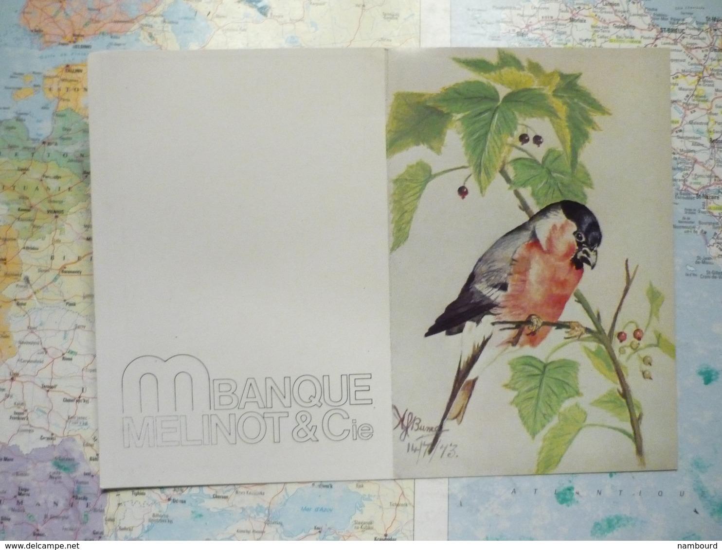Calendrier 1977 Banque Mélinot Et Cie Oiseau Exotique Peint à La Bouche Par Bunce - Calendriers