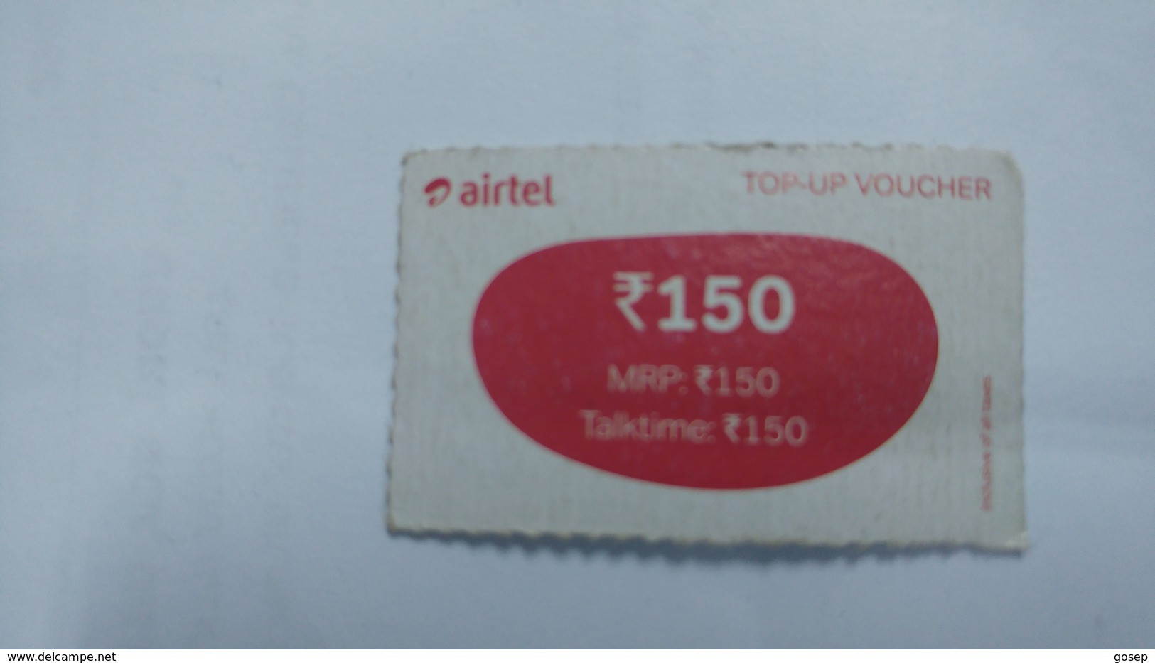 India-airtel Prepiad Card-top-up Voucher(53c)-(rs.150)(bangalore)-(31.5.17)(look Out Side)-used Card+1 Card Prepiad Free - India