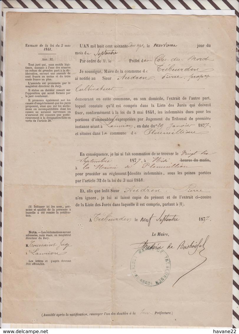 81023 Lettre Facture PREFET COTES NORD LANNION PLOUMILLIAU EXPROPRIATION / 1877 - Documents Historiques