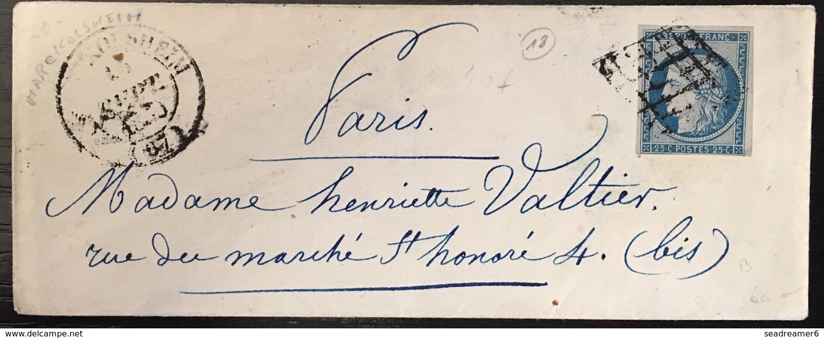 LETTRE 1850 Ceres N°4 (touché En Bas)  25c Bleu Oblitéré Du Dateur Type 14 De Marckolsheim TB - 1849-1850 Ceres
