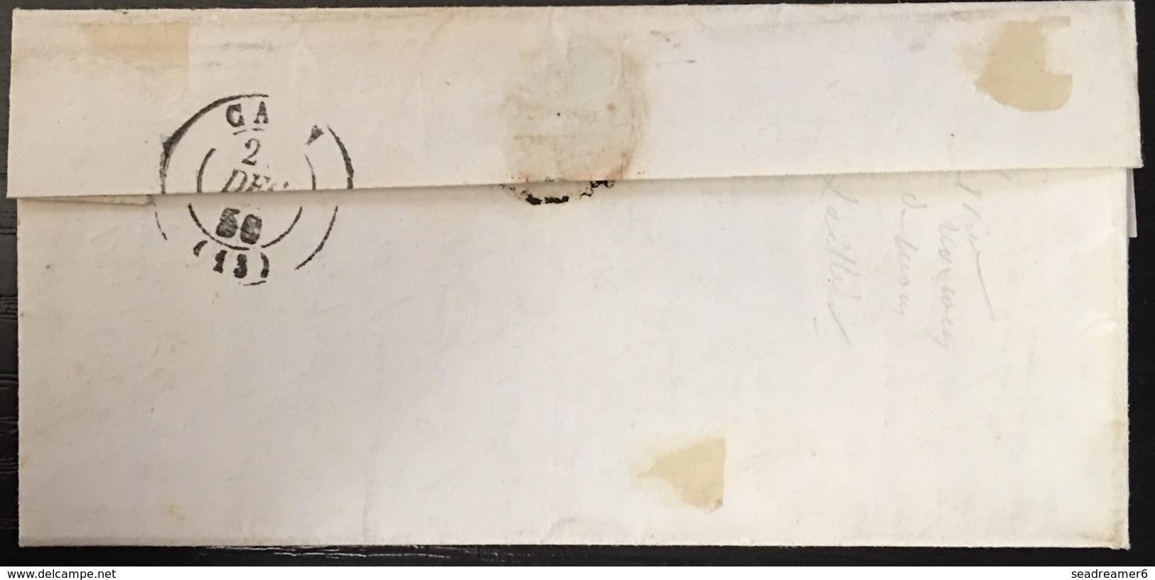 """LETTRE 1851 Ceres N°4  25c Bleu + Dateur Bayeux Pour La Maladrerie +taxe 25 Et Note Manuscrite """"complément à Taxe"""" Signé - 1849-1850 Ceres"""