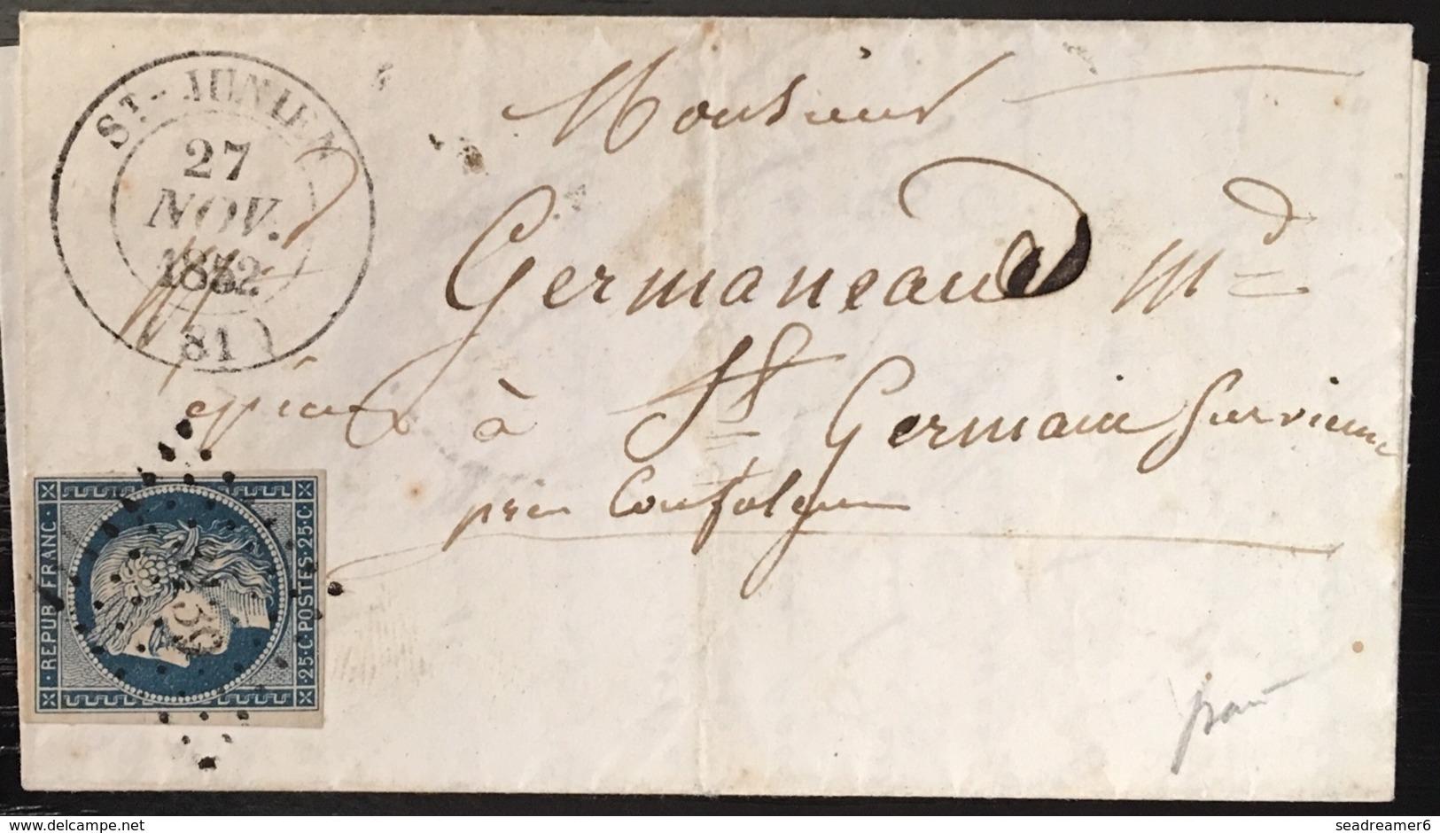 LETTRE 1851 Ceres N°4  25c Bleu Pc 3139  + Dateur Type 14 De ST Junien Tres Frais Signé Baudot - 1849-1850 Ceres