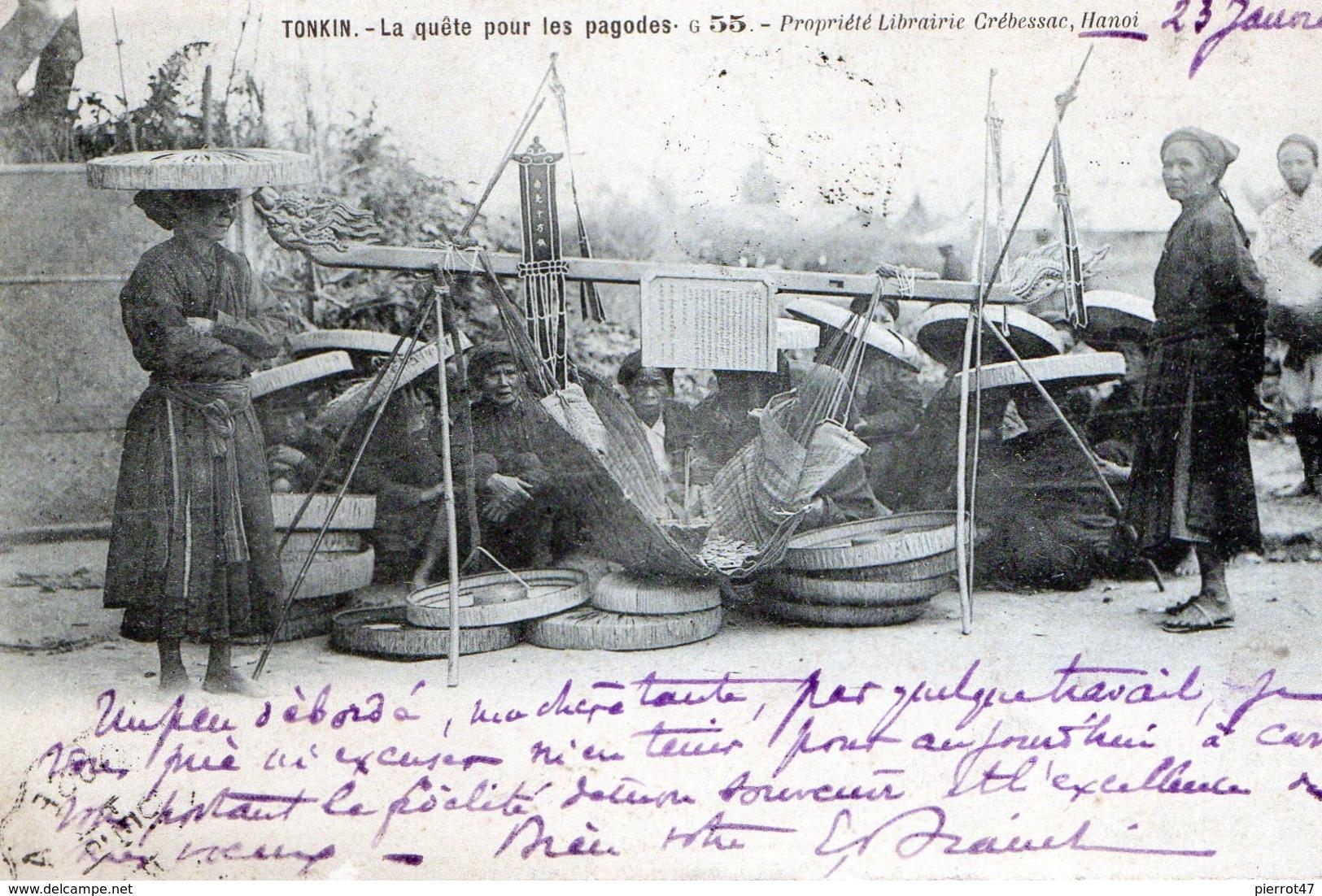 TONKIN-La Quete,pour Les Pagodes,en 1903,dos Non Divisé,tbon état - Cartes Postales