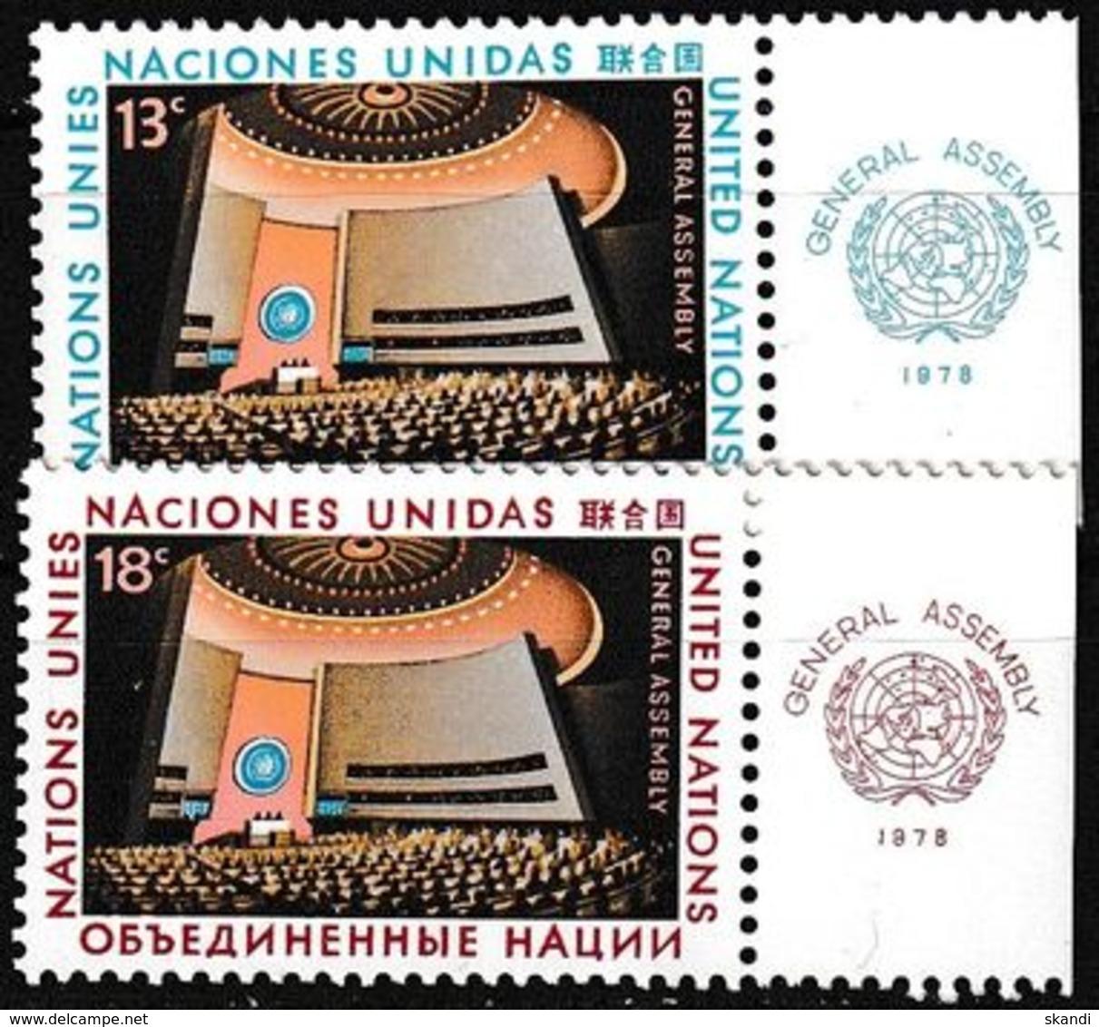 UNO NEW YORK 1978 Mi-Nr. 324/25 ** MNH - New York -  VN Hauptquartier