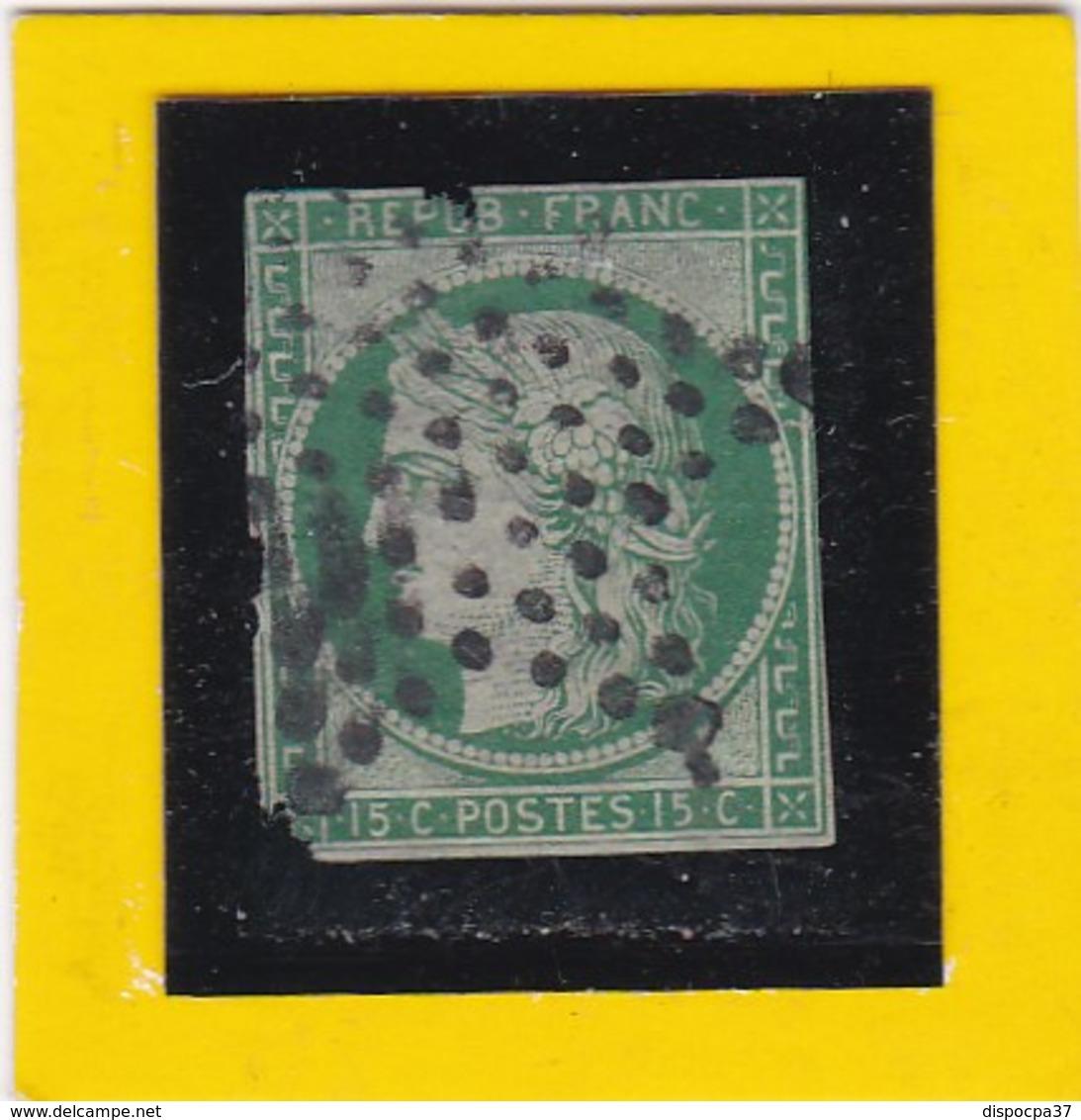 CERES N° 2 Vert Foncé  - OBLITERATION ETOILE DE PARIS MUETTE - REF 17150 - Cote ARTHUR- MAURY 1300€  2ème Choix - 1849-1850 Ceres