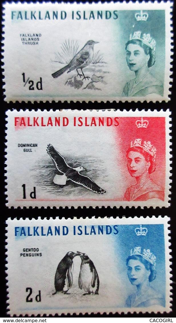1960 Falkland Islands Yt 122, 123, 124 . Austral Thrush (Turdus Falklandicus) . Neufs Traces Charnières - Falkland