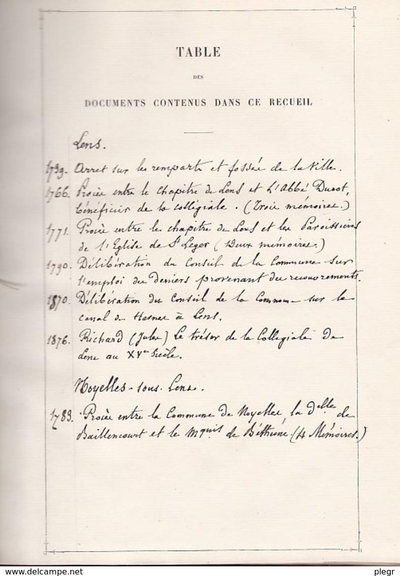 RECUEIL DE DOCUMENTS RELATIFS A L'ARTOIS - CANTON DE LENS - BIBLIOTHEQUE DE M.LE BARON DARD - CHÂTEAU DE BEAULIEU - Livres, BD, Revues