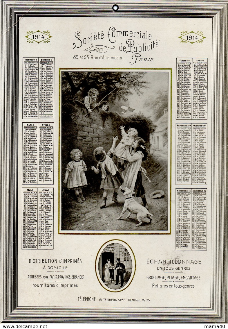 CALENDRIER DE 1914 - SOCIETE COMMERCIALE DE PUBLICITE - PARIS - Calendriers